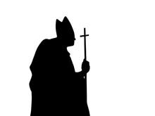 Catholic Priest, Silhouette On...