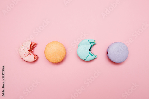 Colorful Cake macaron or macaroon on pink background, pastel color Poster Mural XXL