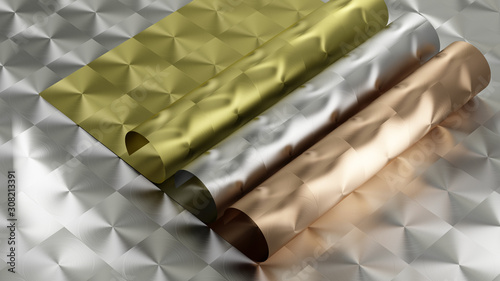 Photo 3D rendering of Metal texture of anisotropic aluminum foil