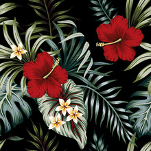 Tropical Vintage Red Hibiscus And Strelitzia Floral Green Palm Leaves Seamless Pattern Black Background. Exotic Jungle Wallpaper.