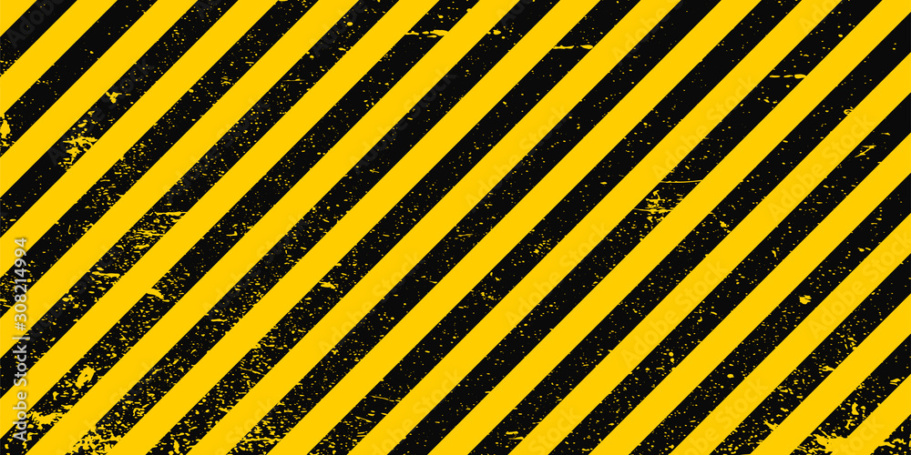 Fototapeta Industrial background warning frame grunge yellow black diagonal stripes, vector grunge texture warn caution, construction, safety background