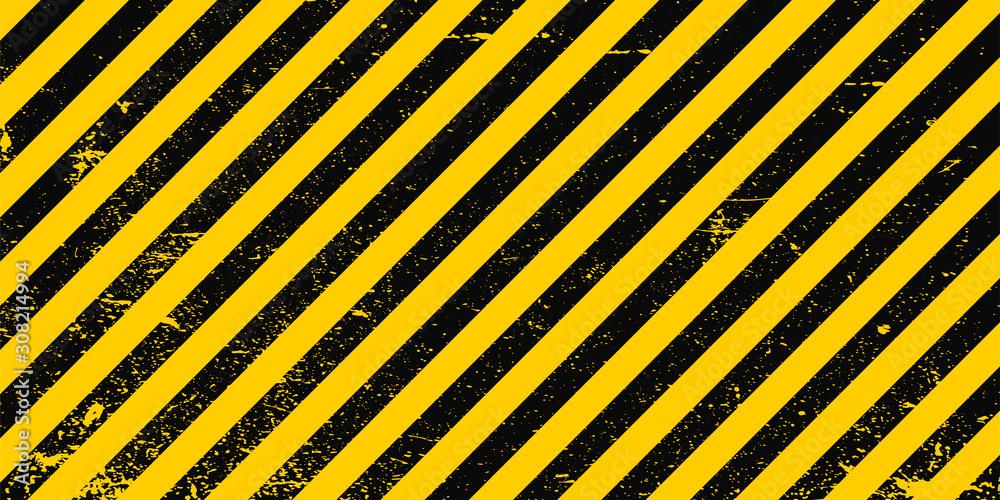 Fototapeta Industrial background warning frame grunge yellow black diagonal stripes, vector grunge texture warn caution, construction, safety background