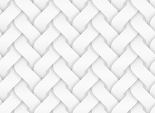 Vector Seamless Pattern Of Entwined Curve Bands. White Texture Illustration.