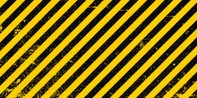 Industrial Background Warning Frame Grunge Yellow Black Diagonal Stripes, Vector Grunge Texture Warn Caution, Construction, Safety Background