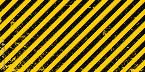 Industrial background warning frame grunge yellow black diagonal stripes, vector Fotobehang