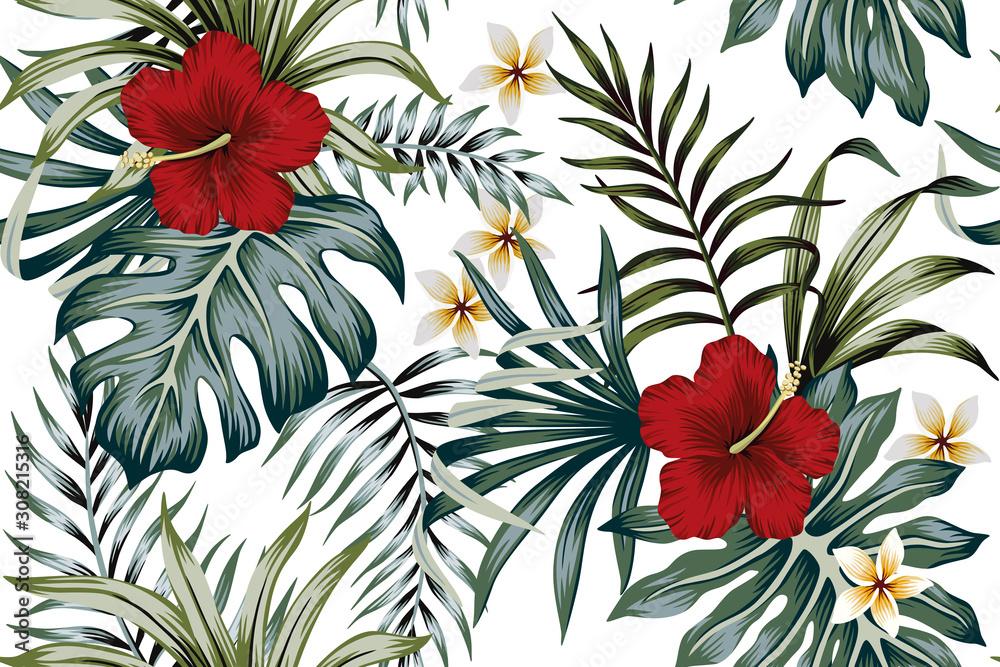Fototapeta Tropical vintage hibiscus plumeria floral green leaves seamless pattern white background. Exotic summer wallpaper.