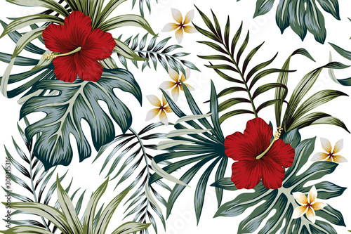 Tropical vintage hibiscus plumeria floral green leaves seamless pattern white background. Exotic summer wallpaper.