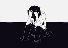 Depression Teenager Woman Drowning In Her Regret, Anxiety And Stress. Mental Health Problem Illustration
