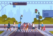 Cartoon Pedestrians. City Crosswalk With Diverse People And No Traffic, Urban Cityscape With People Hurry At Work. Vector Illustration Town Road With Men And Woman Walking Outdoors