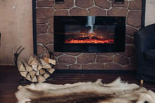 View Over Fireplace With Burni...