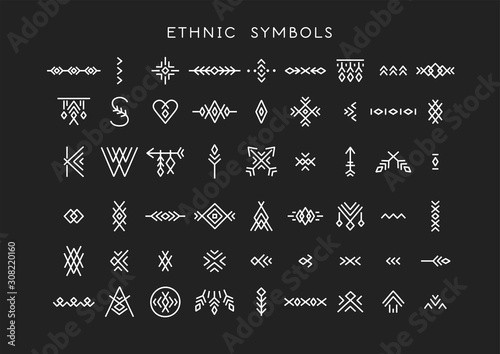 фотография Vector set of line art symbols for logo design and lettering in boho and hipster style