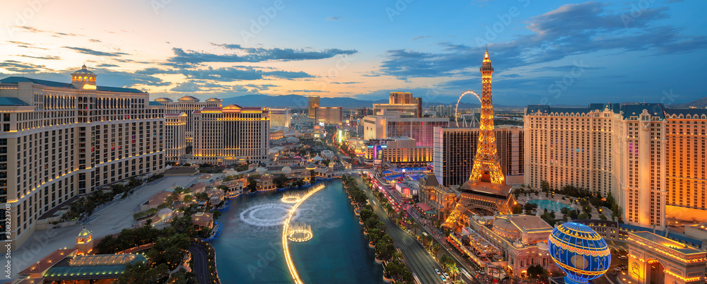 Panoramic view of Las Vegas strip at sunset