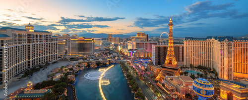 Panoramic view of Las Vegas strip at sunset	 #308223708