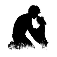 Vector Silhouette Of Man With Dog In The Grass On White Background. Symbol Of Boy, People, Animal, Pet, Training, Nature, Park, Garden.