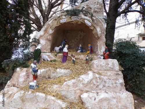 Aprilia, Latina, 12/08/2019, nativity scene, crib set up in a square Wallpaper Mural