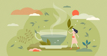 Green Tea Vector Illustration. Herbal Drink In Flat Tiny Persons Concept.