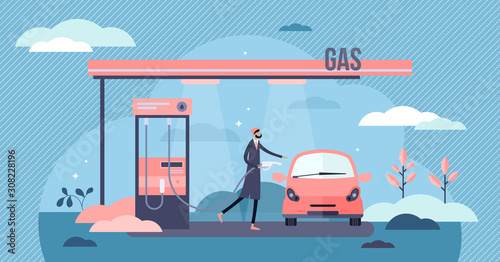 Fotomural Gas station vector illustration