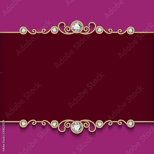 Fototapeta Golden Invitation Cards With Border Ornament In