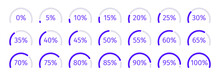 Modern Set Of Purple Semicircle Percentage Diagrams For Infographics, 0 5 10 15 20 25 30 35 40 45 50 55 60 65 70 75 80 85 90 95 100. Vector Illustration.