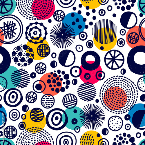 fototapeta na ścianę Seamless pattern, polka dot fabric, wallpaper, vector. Cheerful polka dot vector seamless pattern. Can be used in textile industry, paper, background, scrapbooking.