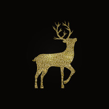 Golden Deer On Black Backgroun...