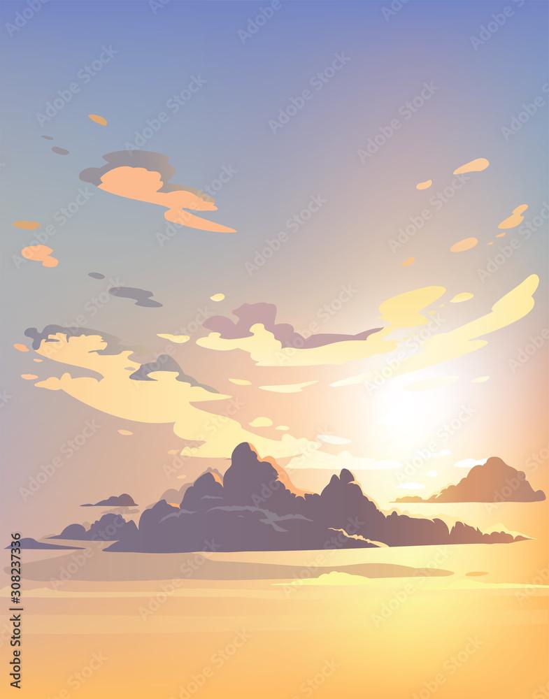 Wieczorne niebo chmury wektor. Zachód słońca. Projekt tła