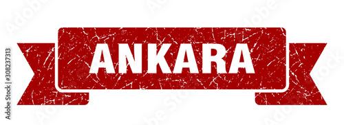 Ankara ribbon. Red Ankara grunge band sign Wallpaper Mural