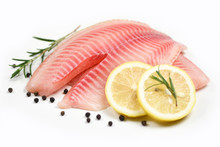 Fresh Fish Fillet Sliced For Steak Or Salad With Herbs Spices Rosemary And Lemon - Raw Tilapia Fillet Fish On White Background And Ingredients For Cooking Food