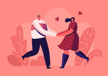 Happy Loving Couple Outdoors Sparetime. Cheerful Man And Woman Characters Spend Time Together Holding Hands And Rejoice With Hearts Around. Love Relation, Togetherness Cartoon Flat Vector Illustration