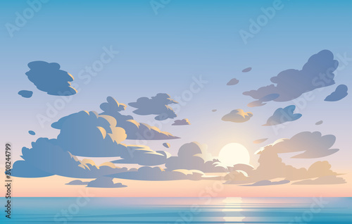 Vector landscape sky clouds. Sunset. Anime clean style. Background design - 308244799