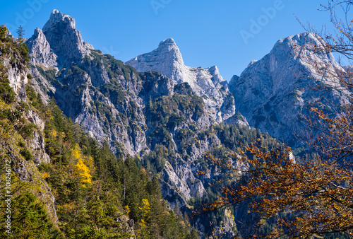 Photo Sunny colorful autumn alpine scene
