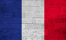 Flag Of France On Old Brick Wall Background