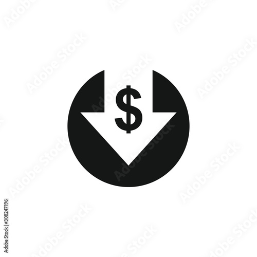 Fotomural Cost reduction icon. Dollar Down Icon Vector.