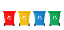 Recycle Bin Vector. Red, Yellow, Blue And Green Recycle Bins For Sorting Waste.