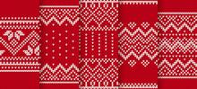 Knit Red Print. Christmas Seam...
