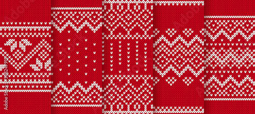 Knit red print. Christmas seamless pattern. Vector illustration.