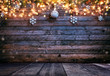 canvas print picture - Christmas rustic background with wooden planks