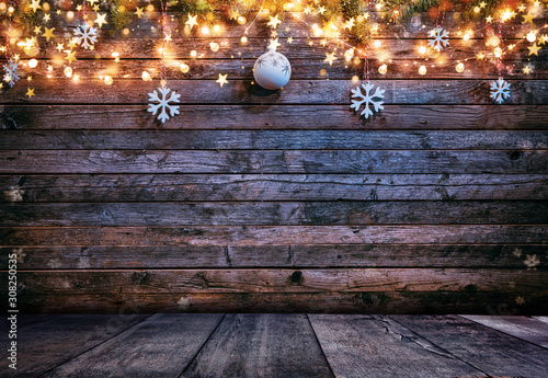 Christmas rustic background with wooden planks - 308250535