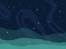 Starry Space Vector Background. Pixel Art. 8 Bit.  Stars.