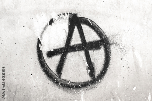 Symbol of Anarchy painted on a wall Canvas Print