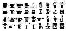 Barista And Coffee Lovers Icon Set (Flat Silhouette Version)
