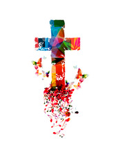Colorful Christian Cross With ...