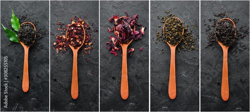 Fototapeta Photo banner. Collage photo of dry tea in spoons. On a black stone background. obraz