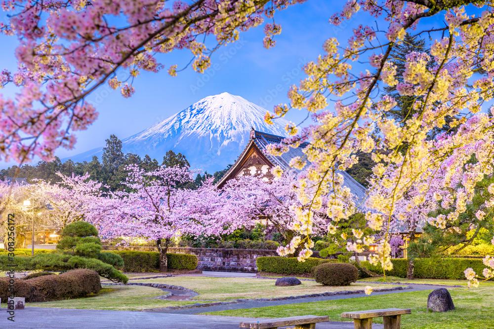 Fujinomiya, Shizuoka, Japan with Mt. Fuji