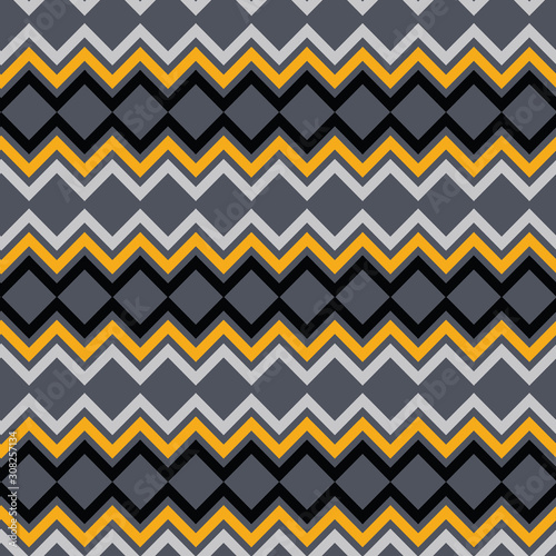 Elegant tribal inspired chevron pattern in black, grey, silver and gold Wallpaper Mural