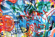 Closeup Of Damaged Colorful Urban Wall Texture
