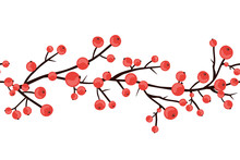 Winter Red Berry Braches Border. Seamless Christmas Hawthorn Pattern For Cards, Textile, Or Wrapping Paper. Vector