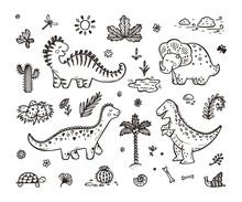 Extinct Animals. Cute Cartoon Dinosaur Vector Set. Hand Drawn Doodle Dinosaurs: Tiranossauro Rex, Triceratops, Stegosaurus, Diplodocus And Plants. No Fill Color