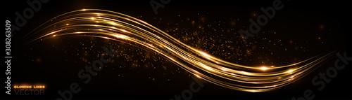 Fototapeta Glow effect. Beautiful light. Glint cosmic rays. Power energy. Futuristic wave Flash. Magic sparks. Neon wind lines. Mystical shine streaks. Empty place. Abstract background. Vector. EPS10 obraz na płótnie