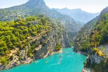 Verdon Gorge, Provence, France. View On The River Verdon From The Top Of The Verdon Gorges.